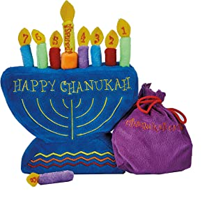 Rite Lite Plush Chanukah Menorah Toy - with Drawstring Pouch for Candle Storage, Great Toy for Hannukah, Add 1 Candle Each Night