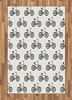 Ambesonne Bicycle Area Rug, Hand Drawn Doodle Cycling Theme Pattern of Yellow Bike Leisure Hobby Street Art, Flat Woven Accent Rug for Living Room Bedroom Dining Room, 4' X 5.7', Mustard Black