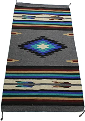 Onyx Arrow Southwest Décor Area Rug, 32 x 64 Inches, Center Diamond Gray/Black/Blue