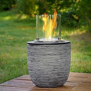 muenkel design Vigo – ribbels zwart-grijs – bio-ethanol haard tuinfakkel terrasvuur met ronde brander 250 verbrandingskamer