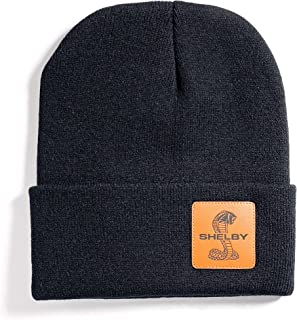 Shelby Black Leather Patch Beanie - 100% Acrylic | Officialy Licensed Shelby Product | Adjustable, One-Size Fits All | Gen...