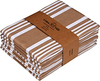 Urban Villa Kitchen Towels,Trendy Stripes, 100% Cotton Dish Towels, Mitered Corners, (Size: 20X30 Inch), Taupe/White Highly Absorbent Bar Towels & Tea Towels - (Set of 6)