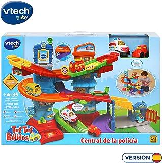 VTech - Tut Tut Bólidos Central de policía, Playset interactivo con diferentes tramos y niveles de pistas, incluye un coche de policía y otro de los ladrones, multicolor (3480-512922)