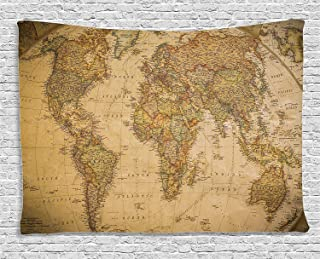 Ambesonne Wanderlust Decor Collection, Anthique Old World Map in Retro Color with Vintage Nostalgic Design Art Print Deco, Bedroom Living Room Dorm Wall Hanging Tapestry, 80W X 60L Inch, Cream