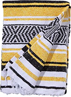 El Paso Designs Mexican Yoga Blanket Colorful 51in x 74in Studio Mexican Falsa Blanket Ideal for Yoga, Camping, Picnic, Beach Blanket, Bedding, Home Decor Soft Woven (Sun)