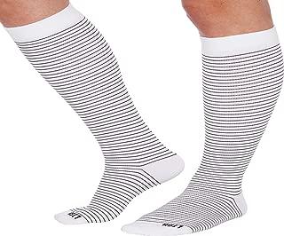 LISH Skinny Stripe Wide Calf Compression Socks - Graduated 15-25 mmHg Knee High Striped Plus Size Support Stockings