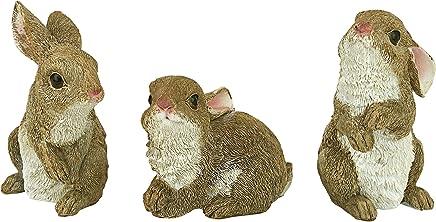 Design Toscano The Bunny Den Rabbits 花园动物雕像,12.7 cm,三件套,合成树脂,全色