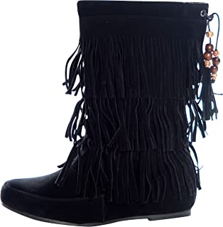 Women's Faux Suede Fringe Moccasin Beaded Tassle Mid Calf Boots Black, Camel. Brown, Gray, Red, Pink