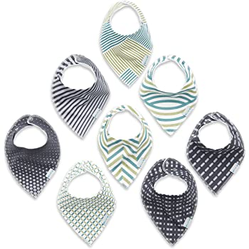 Enovoe Baby Bandana Bibs for Boys & Girls - 8 Pack - Includes Free Bonus Beanie - Newborn and Infant Unisex Cotton Drool Bibs with Snaps – Baby Shower Gifts