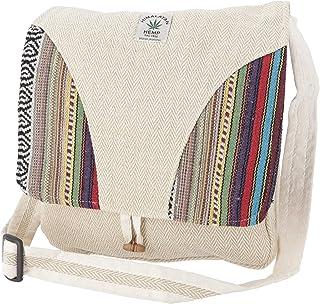 GURU SHOP Kleine Hanf Schultertasche, Hippie Tasche, Goa Tasche - Hanftasche 1, Herren/Damen, 24x18x4 cm, Alternative Umhä...