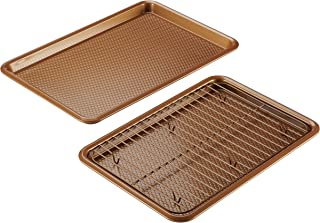 Ayesha Curry 47072 Nonstick Bakeware Set with Nonstick Cookie Sheets / Baking Sheets and Cooling Rack - 3 Piece, Copper Brown