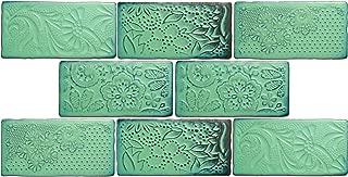 SomerTile WCVAFL  Antic Feelings Lava Verde Ceramic Wall Tile,3-inch x 6-inch Pack of 8