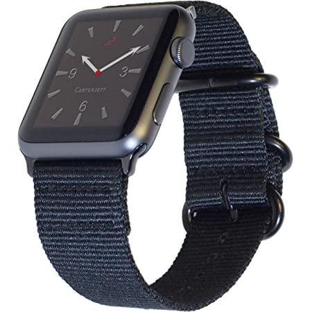 Carterjett Extra Large Nylon Compatible with Apple Watch Band 42mm 44mm XL Black Replacement Military-Style iWatch Band Long Adjustable for Series 6 & SE Series 5 4 3 2 1 Sport (42 44 XXL Black)