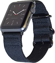 """Carterjett Extra Large Nylon NATO Compatible with Apple Watch Band 42mm 44mm XL Black Replacement iWatch Band 8-10.5"""" Wrists Long Adjustable Woven for Series 5 4 3 2 1 Sport (42 44 XXL Black)"""