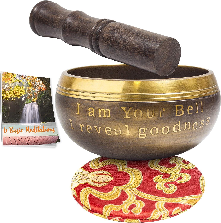 Cuenco Tibetano para Meditación - Con mazo y cojín de seda - Con eBook de 6 Meditaciones básicas - Hecho a Mano en Nepal - Regalo Zen