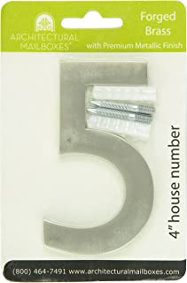 Architectural Mailboxes 3582SN-5 3582B-3 Brass Floating House Number, 5, Satin Nickel