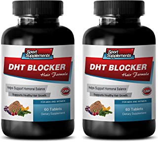hair growth hair vitamins without biotin - DHT BLOCKER HAIR FORMULA - SUPPORT HEALTHY HAIR GROWTH - he shou wu for gray hair - 2 Bottles 120 Coated Tablets