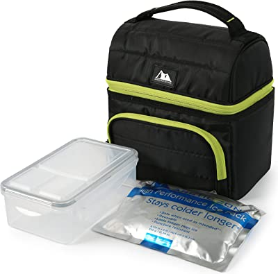 Arctic Zone Ultimate Secret Lunch Bucket with 2pc Leak Proof Food Container (37.2 fl.oz) and 350g High Performance Ice Pack-Black, 236oz