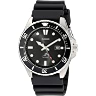 Casio Men's Black Analog Anti Reverse Bezel Watch