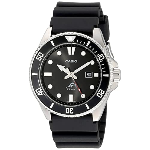 Casio Mens Black Analog Anti Reverse Bezel Watch
