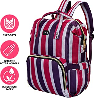LuvLap Lily Travel Multifunctional Waterproof Diaper Bag-Backpack Cum Tote Bag (Pink Stips)