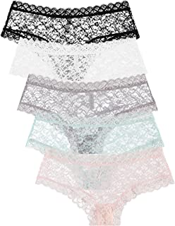Free to Live 5 Pack Women's Lace Panties - Trimmed Boyshorts Underwear