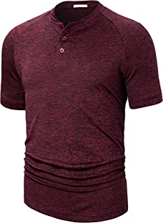 Fresca Mens Collarless Golf Shirts Short Sleeve Dry Fit Stretch Casual Breathable Lightweight Tshirts