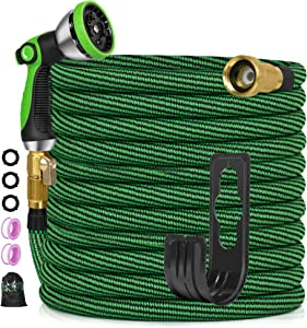 Expandable Garden Hose 50ft, Flexible No-Kink Water Hose with 10 Metal Spray Nozzle, 3300D 3/4'' Solid Brass Connectors, Portable Hose for Gardening