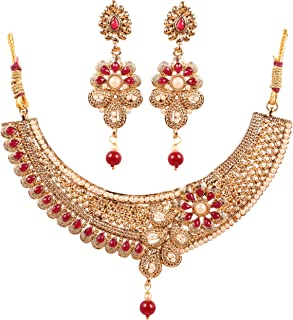 Touchstone Indian Bollywood Traditional and Modern Kundan polki Look Rhinestone Grand Bridal Designer Jewelry Necklace Set...
