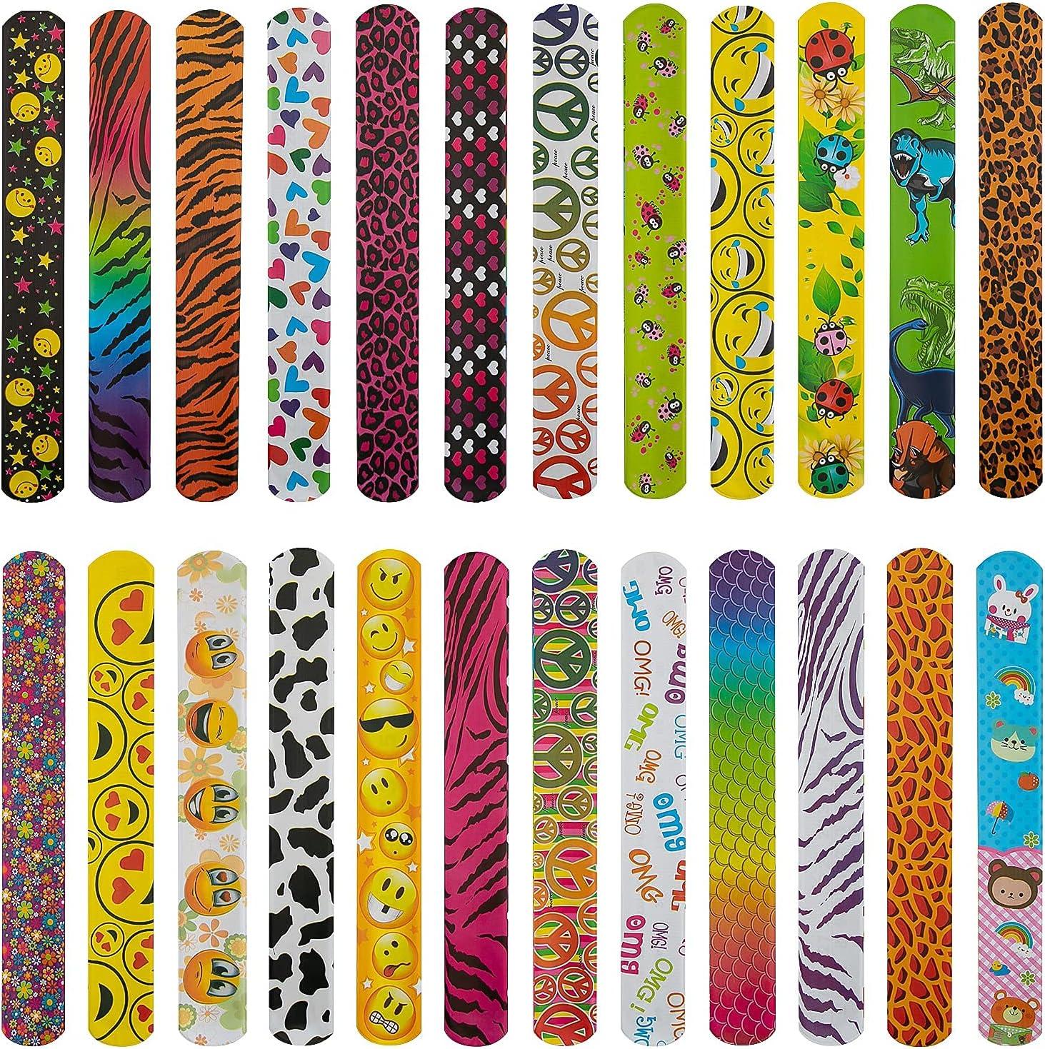 AIEX Import Time sale 25 Pcs Slap Bracelets with Prin Colorful Face Hearts Animal