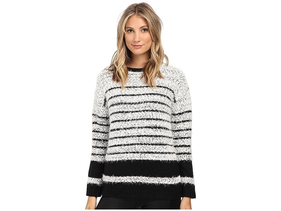 Calvin Klein Stripe Eyelash Pullover (Black/White) Women