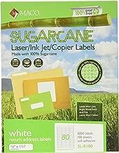 MACO Sugarcane Laser/Ink Jet/Copier White Return Address Labels, 1/2 x 1-3/4 Inches, 80 Per Sheet, 8000 Per Box (SL-8100)