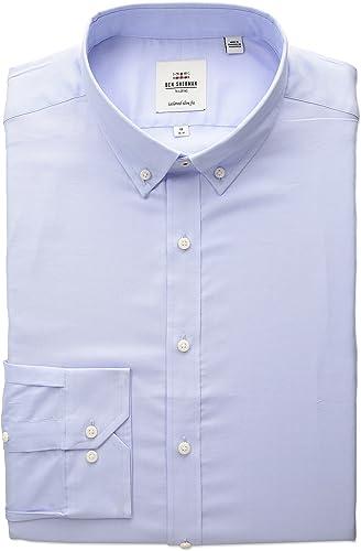 Ben Sherhomme Hommes's Slim Fit Oxford Button-Down Collar Robe Shirt, bleu, 18 36 37