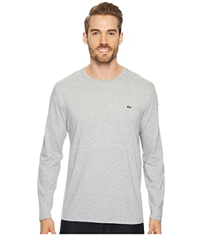 Lacoste Long Sleeve Pima Jersey Crew Neck T-Shirt (Silver Chine) Men