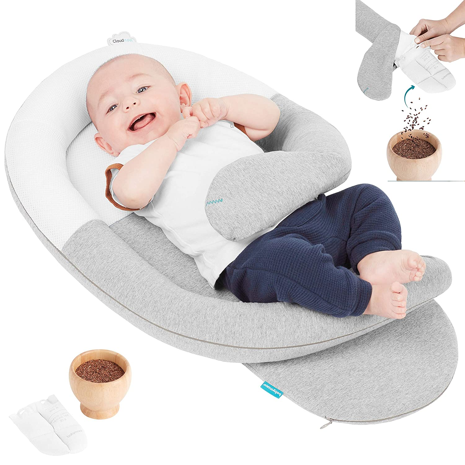 Babymoov CloudNest Organic Soothing Lounger - Original Colic Reducing Nest with a Warm Womb-Like Feel (Created by a Midwife)