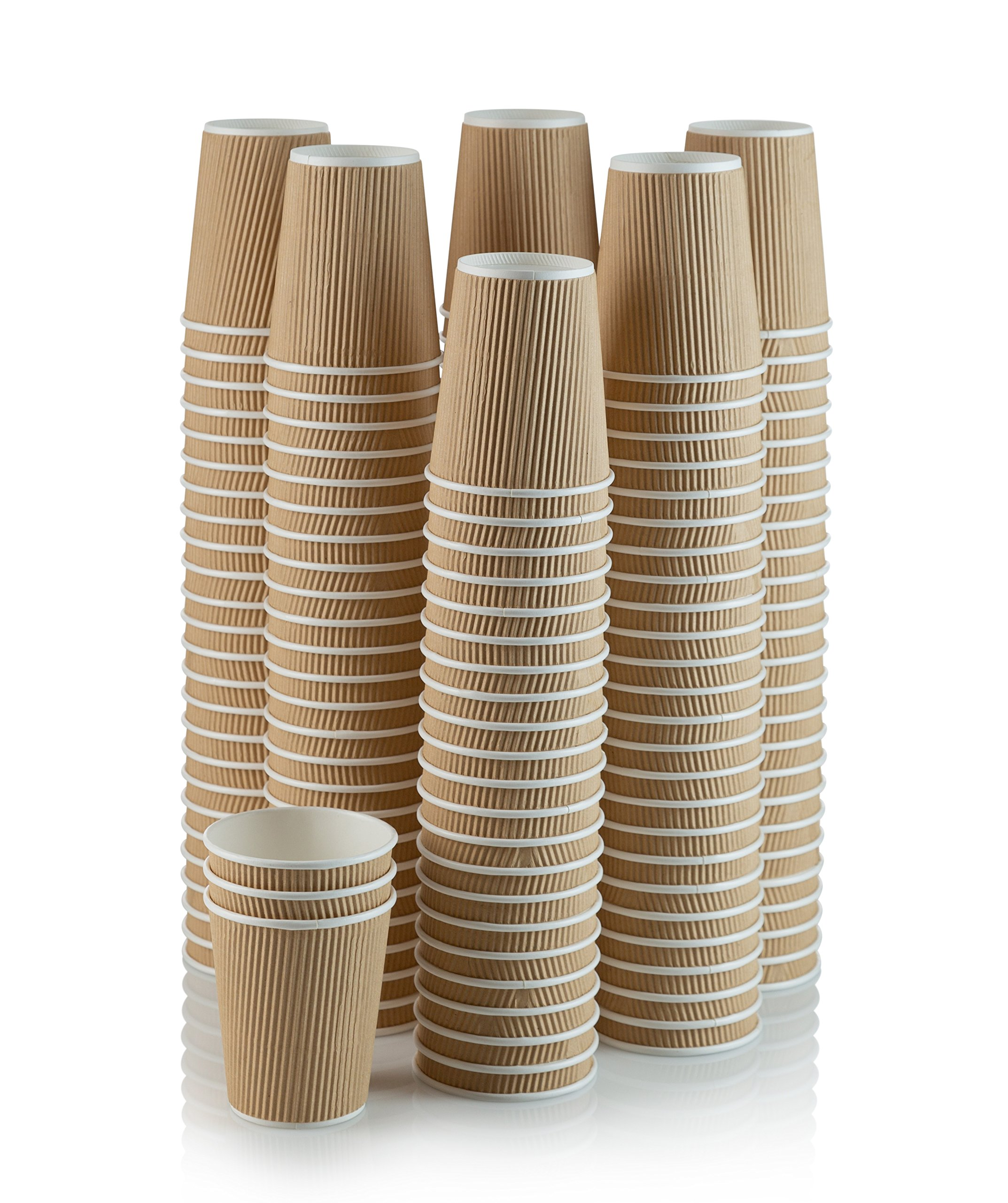 150 Pack 16 Oz Eco Friendly Disposable Poly Paper Hot Tea Coffee Cups No Lids