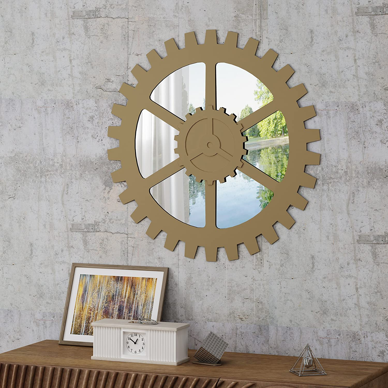 Christopher Knight Home Delmore Industrial Wall Gear Special price for a limited time Selling and selling Cha Mirror