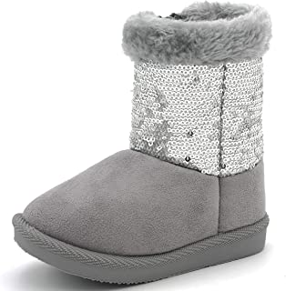 Suburb Basic Toddler Baby Girls Winter Warm Furry Boots Booties Fur Flat Glitter Sequin Zipper Suede