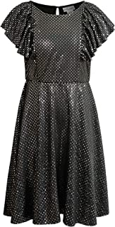 Emily West Girls' Red Glitter Floral Lace Pleated Chiffon Cap Sleeve Dress