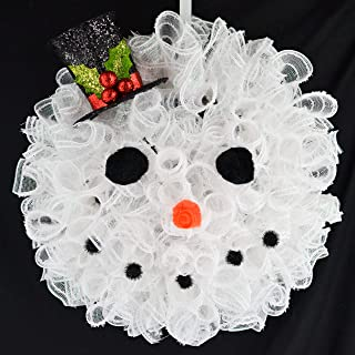 snowman wreath made out of deco mesh