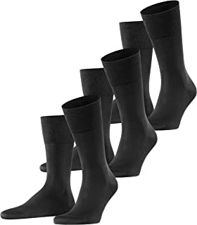 FALKE Men's Tiago 3-Pack Socks Cotton Black Thin Light Colourful Calf Socks With Two Layer Sole Construction Plain For Wor...