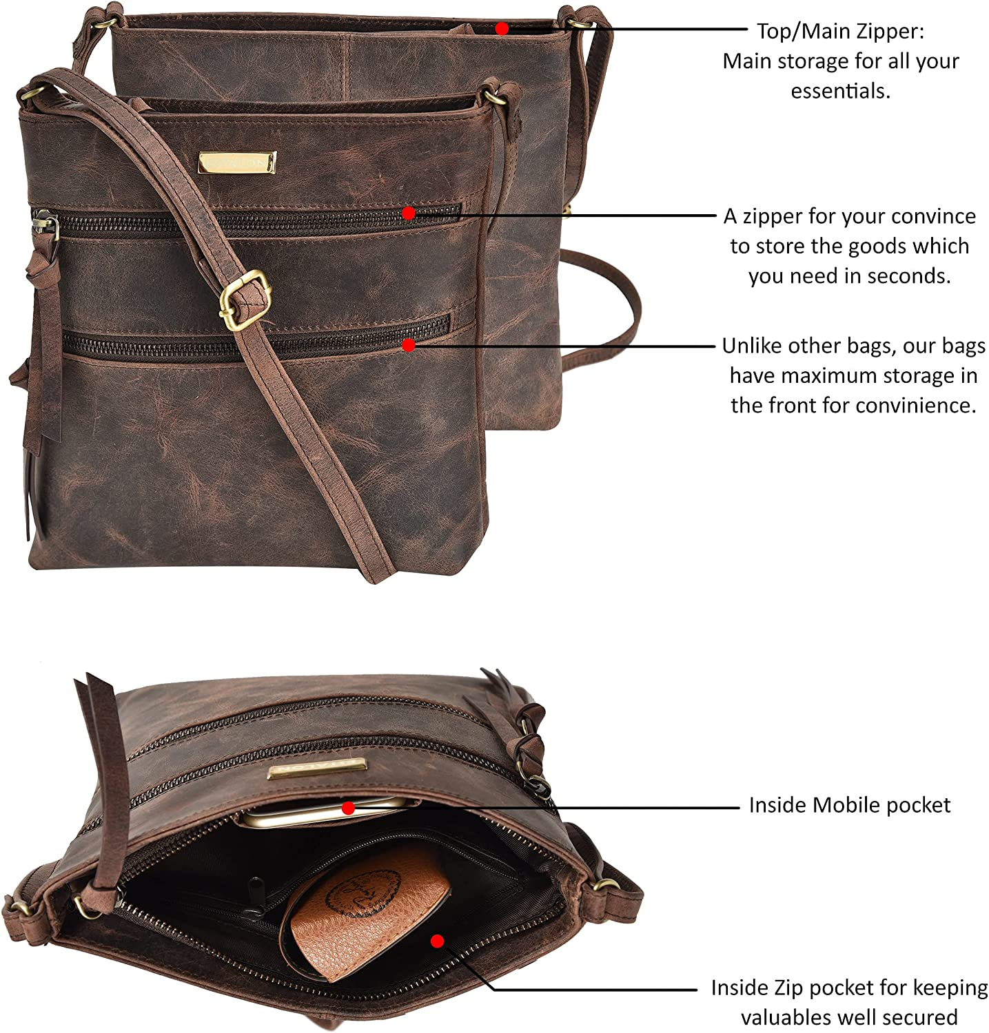 Leather Crossbody Purse for Women- Small Crossover Long Over the Shoulder Sling Womens Purses and Handbags