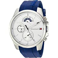 Tommy Hilfiger Men's Cool Sport Stainless Steel Quartz Watch with Silicone Strap, Blue, 22...