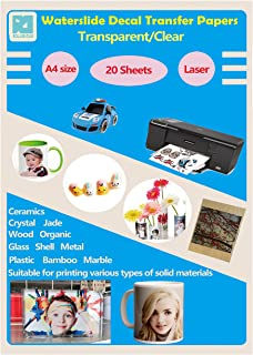 20 Sheets A4 Laser Water Slide Decal Paper Sheets Transparent Clear