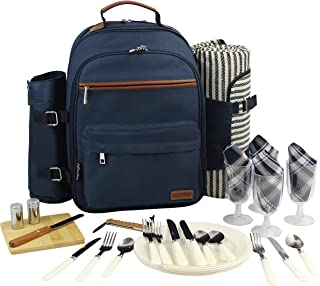 Picnic Backpack for 4 | Picnic Basket | Stylish All-in-One Portable Picnic Bag with Complete Cutlery Set, Stainless Steel S/P Shakers | Picnic Blanket Waterproof Extra Large| Cooler Bag for Camping
