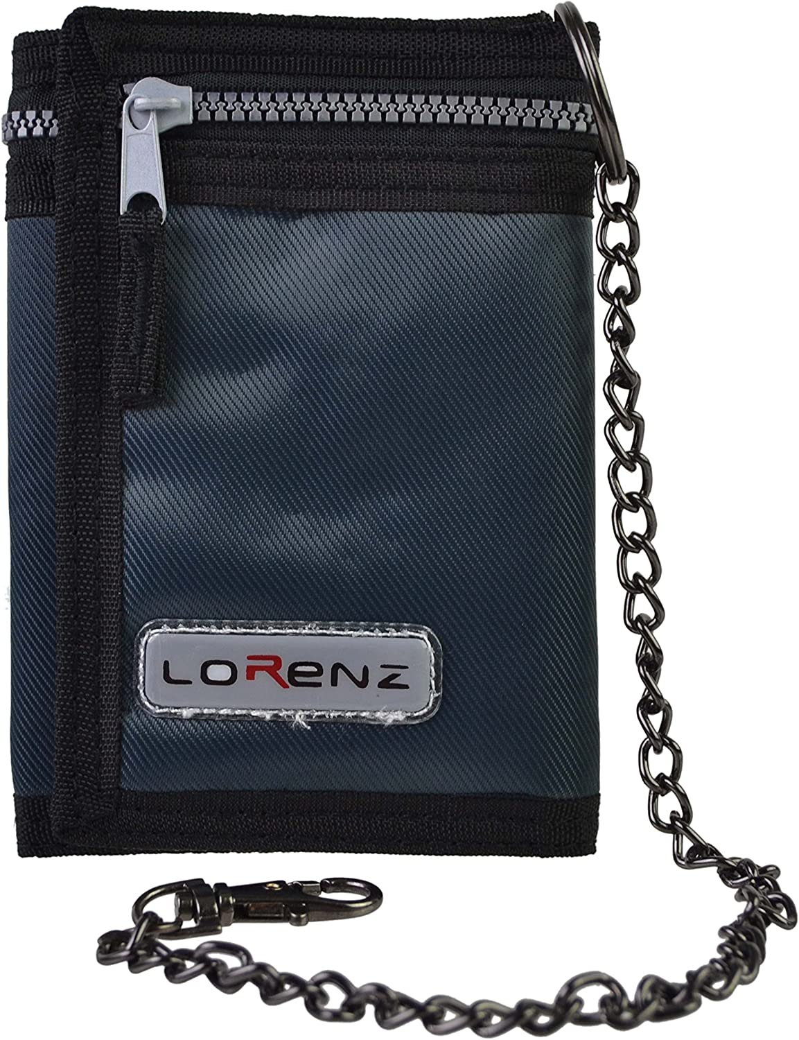 Mens Boys Trifold Sports Wallet by Lorenz with Security Chain Handy-Black