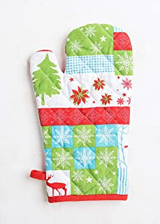 Thread Spread 100% Cotton Oven Mitt, 7.50-Inch by 13-Inch Designed in France - Holiday Collection