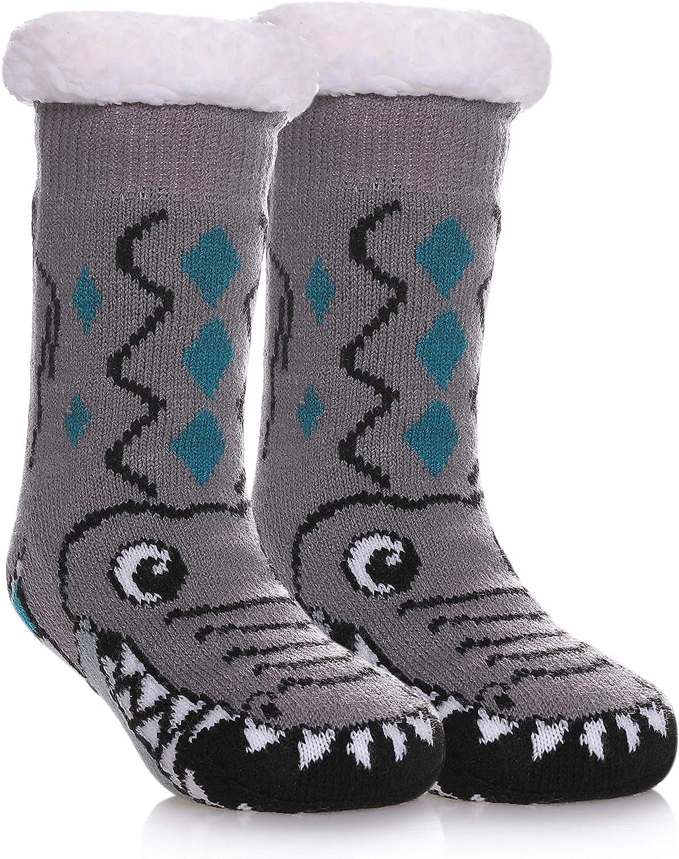 PUREMART Girls Boys Slipper Socks Soft Fluffy Microfiber Fuzzy Thick Warm Heavy Fleece lined Winter non-slip Socks (Grey Crocodile, 4-7 X)