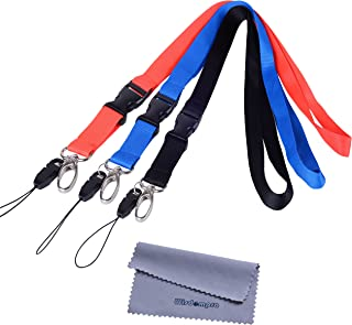 Office Lanyard, Wisdompro 3pcs 23 inch Polyester Neck Strap with Oval Clasp and Detachable Buckle for Phone, Camera, iPod, USB, Key, Keychain, ID Name Tag Badge Holder - Red, Black, Blue