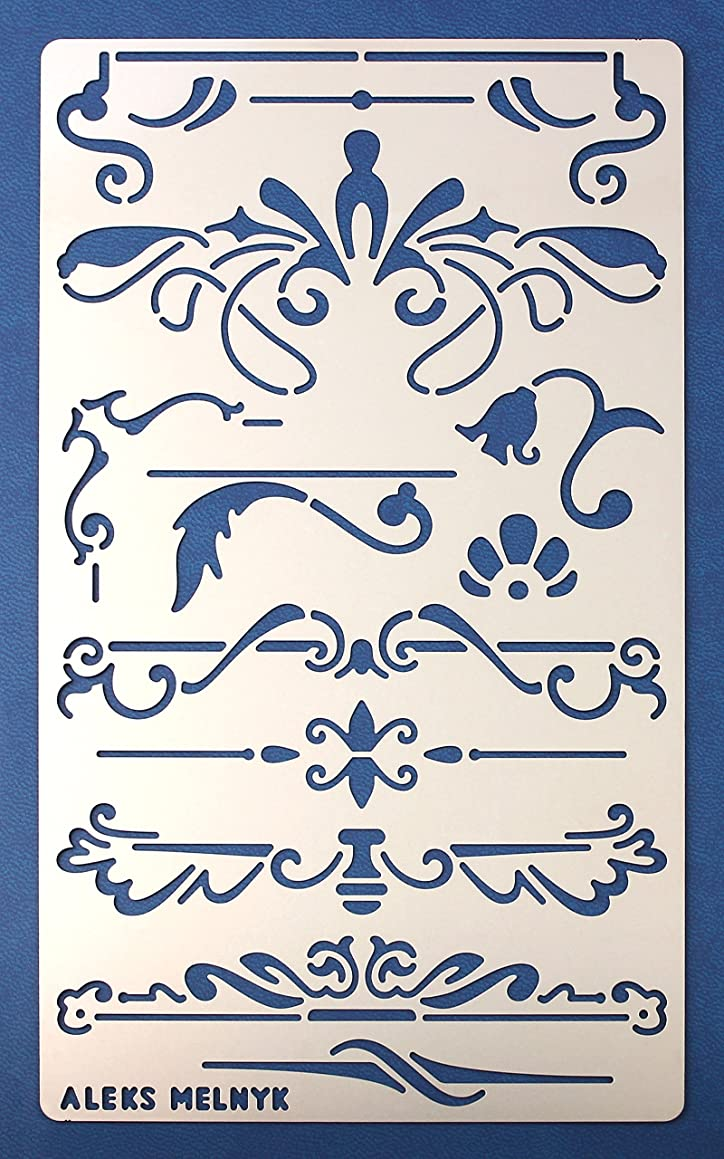 Aleks Melnyk #7 Metal Journal Stencil/Ornament, Dividers/Stainless Steel Stencil 1 PCS/Template Tool for Wood Burning, Pyrography and Engraving/Scrapbooking/Crafting/DIY